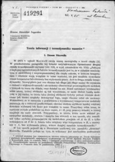 Teoria informacji i termodynamika maserów