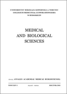 Medical and Biological Sciences 2010, T. XXIV, nr 1