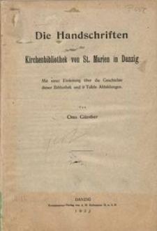 Katalog der Handschriften. Tl. 5, Die Handschriften der Kirchenbibliothek von St. Marien in Danzig : mit einer Einleitung über die Geschichte dieser Bibliothek