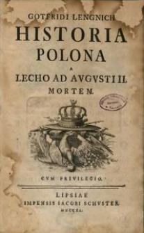 Historia Polona a Lecho ad Augusti II mortem