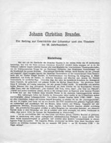 Johann Christian Brandes : Ein Beitrag zur Geschichte der Litteratur und des Theatres im 18. Jahrhundert