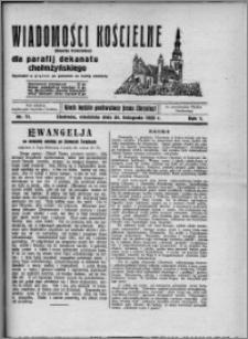 Wiadomości Kościelne : (gazeta kościelna) : dla parafij dekanatu chełmżyńskiego 1929, R. 1, nr 11