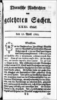 Thornische Nachrichten von Gelehrten Sachen, 1763.04.15 nr 31