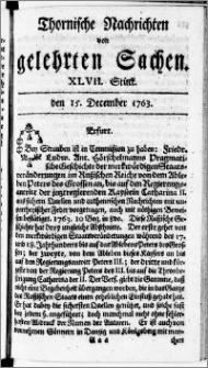 Thornische Nachrichten von Gelehrten Sachen, 1763.12.15 nr 47
