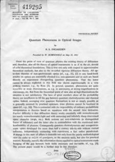 Quantum phenomena in optical images