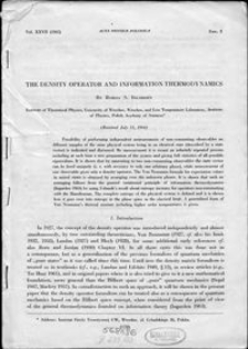 The density operator and information thermodynamics