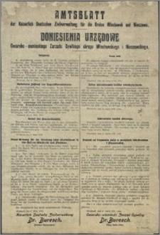 Amtsblatt der Kaiserich Deutschen Zivilverwaltung für die Kreise Wloclawek und Nieszawa = Doniesienia Urzędowe Cesarsko-niemieckiego Zarządu Cywilnego okręgu Włocławskiego i Nieszawskiego