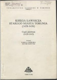 Księga ławnicza starego miasta Torunia (1428-1456). Cz. 1, (1428-1443)