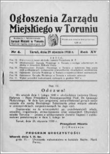 Ogłoszenia Zarządu Miejskiego w Toruniu 1938, R. 15, nr 4