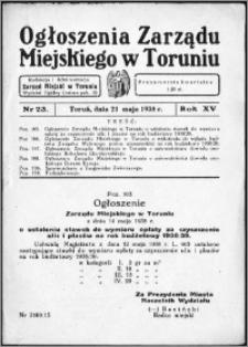 Ogłoszenia Zarządu Miejskiego w Toruniu 1938, R. 15, nr 23