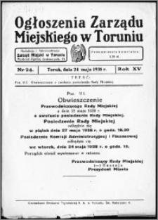 Ogłoszenia Zarządu Miejskiego w Toruniu 1938, R. 15, nr 24