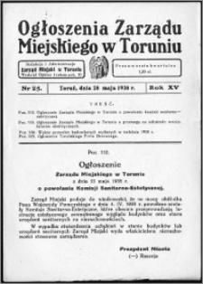 Ogłoszenia Zarządu Miejskiego w Toruniu 1938, R. 15, nr 25