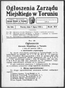 Ogłoszenia Zarządu Miejskiego w Toruniu 1938, R. 15, nr 29
