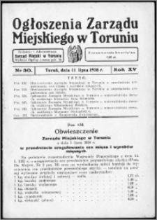 Ogłoszenia Zarządu Miejskiego w Toruniu 1938, R. 15, nr 30