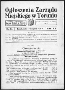 Ogłoszenia Zarządu Miejskiego w Toruniu 1938, R. 15, nr 34