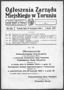 Ogłoszenia Zarządu Miejskiego w Toruniu 1938, R. 15, nr 35