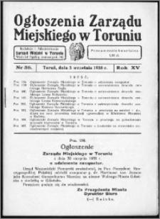 Ogłoszenia Zarządu Miejskiego w Toruniu 1938, R. 15, nr 36