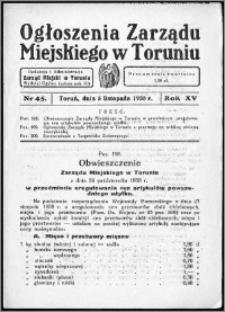 Ogłoszenia Zarządu Miejskiego w Toruniu 1938, R. 15, nr 45