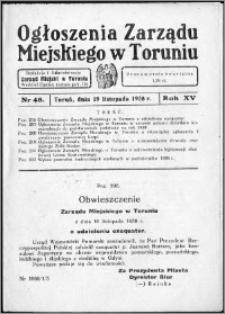 Ogłoszenia Zarządu Miejskiego w Toruniu 1938, R. 15, nr 48