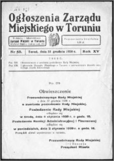 Ogłoszenia Zarządu Miejskiego w Toruniu 1938, R. 15, nr 53
