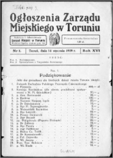 Ogłoszenia Zarządu Miejskiego w Toruniu 1939, R.16, nr 1