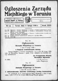 Ogłoszenia Zarządu Miejskiego w Toruniu 1939, R. 16, nr 4