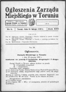 Ogłoszenia Zarządu Miejskiego w Toruniu 1939, R. 16, nr 6