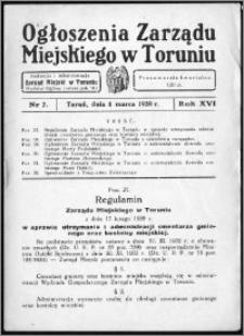 Ogłoszenia Zarządu Miejskiego w Toruniu 1939, R. 16, nr 7