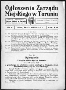 Ogłoszenia Zarządu Miejskiego w Toruniu 1939, R. 16, nr 8