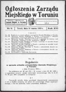 Ogłoszenia Zarządu Miejskiego w Toruniu 1939, R. 16, nr 9