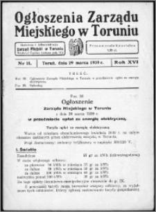 Ogłoszenia Zarządu Miejskiego w Toruniu 1939, R. 16, nr 11