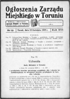 Ogłoszenia Zarządu Miejskiego w Toruniu 1939, R. 16, nr 15