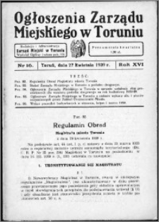 Ogłoszenia Zarządu Miejskiego w Toruniu 1939, R. 16, nr 16