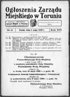 Ogłoszenia Zarządu Miejskiego w Toruniu 1939, R. 16, nr 17