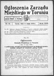 Ogłoszenia Zarządu Miejskiego w Toruniu 1939, R. 16, nr 18
