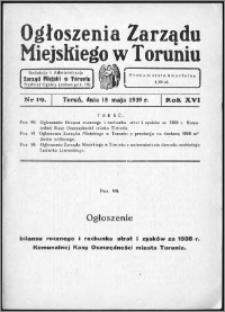 Ogłoszenia Zarządu Miejskiego w Toruniu 1939, R. 16, nr 19