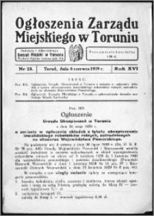 Ogłoszenia Zarządu Miejskiego w Toruniu 1939, R. 16, nr 21