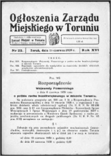 Ogłoszenia Zarządu Miejskiego w Toruniu 1939, R. 16, nr 22