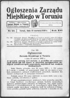 Ogłoszenia Zarządu Miejskiego w Toruniu 1939, R. 16, nr 23