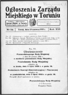 Ogłoszenia Zarządu Miejskiego w Toruniu 1939, R. 16, nr 24