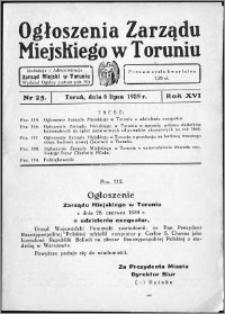 Ogłoszenia Zarządu Miejskiego w Toruniu 1939, R. 16, nr 25