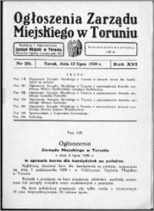 Ogłoszenia Zarządu Miejskiego w Toruniu 1939, R. 16, nr 26