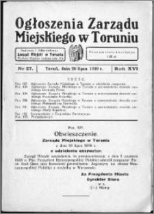 Ogłoszenia Zarządu Miejskiego w Toruniu 1939, R. 16, nr 27