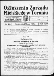 Ogłoszenia Zarządu Miejskiego w Toruniu 1939, R. 16, nr 29