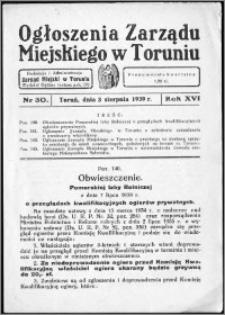 Ogłoszenia Zarządu Miejskiego w Toruniu 1939, R. 16, nr 30