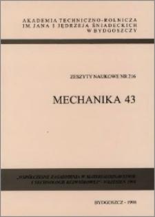 Zeszyty Naukowe. Mechanika / Akademia Techniczno-Rolnicza im. Jana i Jędrzeja Śniadeckich w Bydgoszczy, z.43 (216), 1998