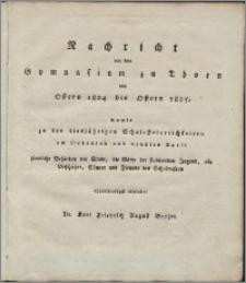 Nachricht von dem Gymnasium zu Thorn von Ostern 1824 bis Ostern 1825