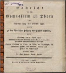 Nachricht von dem Gymnasium zu Thorn von Ostern 1829 bis Ostern 1830