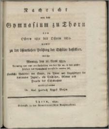 Nachricht von dem Gymnasium zu Thorn von Ostern 1831 bis Ostern 1832