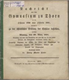 Nachricht von dem Gymnasium zu Thorn von Ostern 1836 bis Ostern 1837